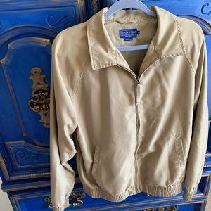 Pendleton Mens Zip Jacket Woolen Mills Tan Medium